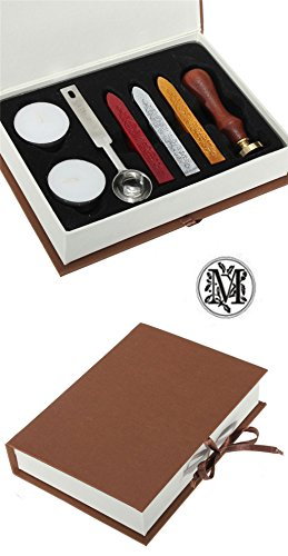 Gift Pro European Retro Wooden Alphabet Letter Initial Wax Seal Stamp Kit Vintage Letter / Envolop Wax Sealing Set with Gold Red Silver Sticks (M)