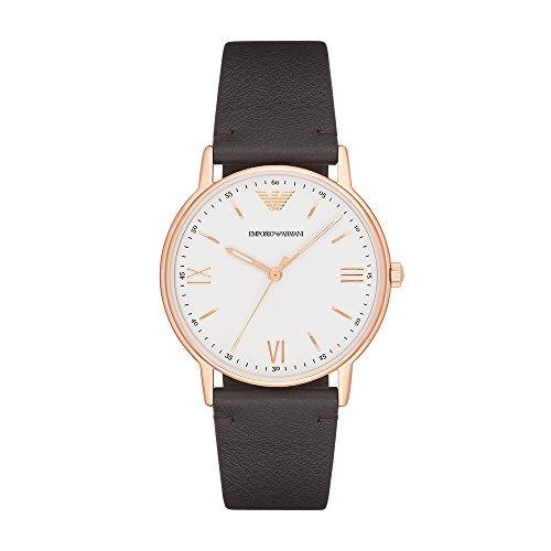 Emporio Armani Herren Analog Quarz Uhr mit Leder Armband AR11011