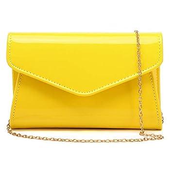 yellow patent leather purse