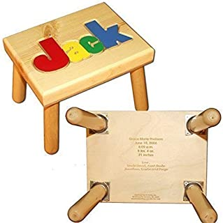Name Puzzle Stool in Primary Colors WITH Engraved Message