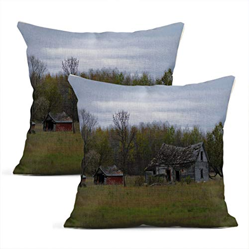 Zynii Pillowcase Drab Abandoned Dilapidated Farm House and Shed with Clouds in Northern Decorate Your Room and Living Room to Bring You Comfort as a Gift