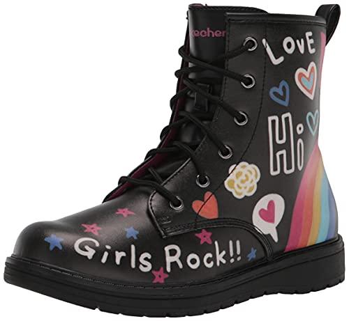Skechers Kids Girls 302914L Combat Boot, Black/Multi, 3 Little Kid