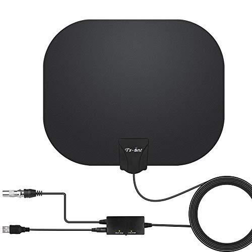 TS-ant Antena de TV Interior, Oval Negro Antena de TV Digital para Interiores de Alcance de 180KM con Amplificador Inteligente de Señal, Adecuada para Canales de TV Gratis 1080P 4K,Cable Coaxial de 5M