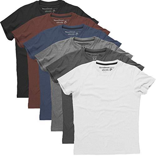 Kit 6 Camisetas Slim Fit Masculinas Básicas Lisas Novastreet, Colorido; Tamanho:M