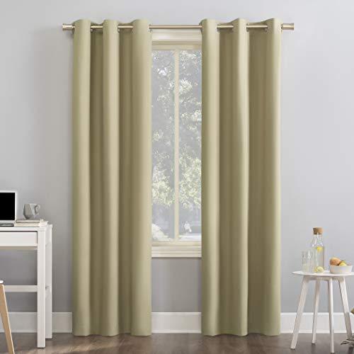 "Sun Zero Cyrus Thermal 100% Blackout Grommet Curtain Panel, 40"" x 96"", Soft Gold"
