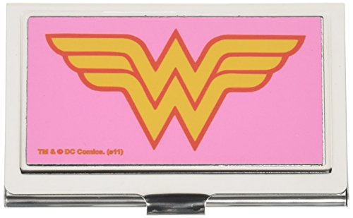 Buckle-Down Business Card Holder - Wonder Woman Logo Pink - Small