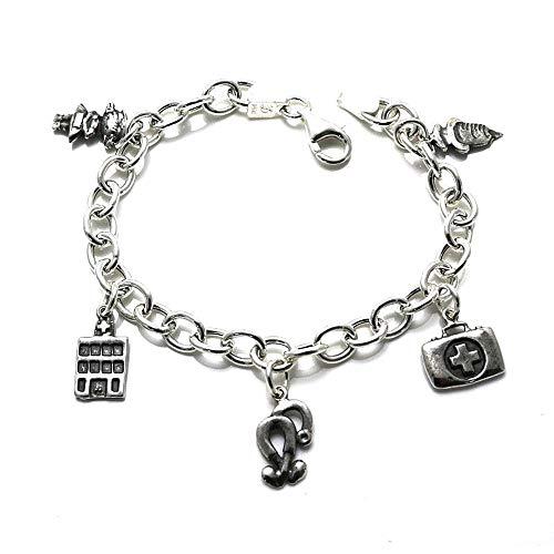 Silber Armband 19.5cm Law Fetische 925m. Krankenschwester Beruf Spange Frauen