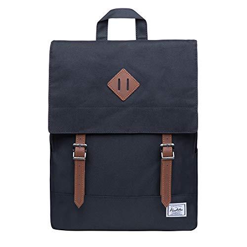 KAUKKO Rucksack Damen Herren Business Rucksäcke mit Laptopfach - Vintage Mädchen Daypack für Uni & Alltag 14.9 Liters Schwarz