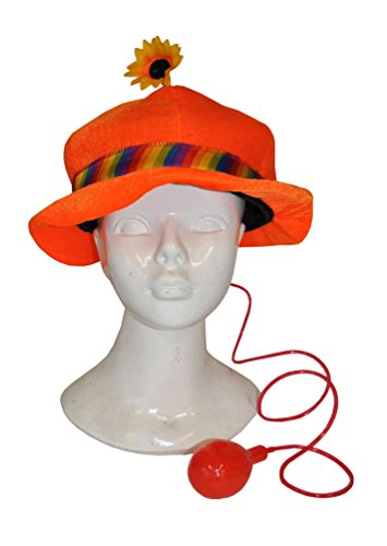 Karneval-Klamotten Kostüm Clownhut orange mit Blume Zubehör Fasching Karneval