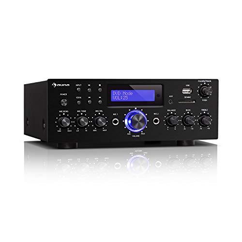 auna AMP-5 BT – Amplificador HiFi, Bluetooth, Potencia de Salida: 2 x 50 W RMS, USB / SD, Entrada AUX, DVD y CD, 2 Conectores de micrófono, Salida de grabación, Pantalla LED, Mando a Distancia, Negro