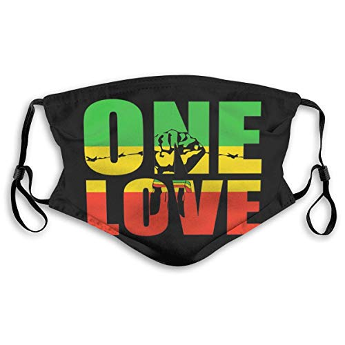 Black One Love Power Faust Logo Stofmond-moffel met filter, ademend, stofdichte gezichtsafdekking oorhangers Gezichtsmasker