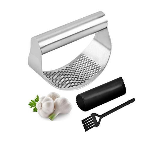 Knoblauchpresse Wippe, Knoblauch Ingwer Presse, 430 Edelstahl Knoblauchschneider + Silikon Knoblauchschäler + Reinigungsbürste, multifunktionales Küchengeschirr, Silber