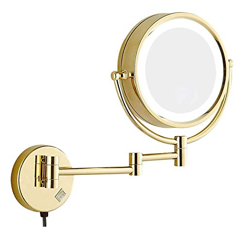 XNDCYX Wall Mounted Makeup Mirror 8.5 Inches LED with 10X Magnification, Double Sided 360° Swivel Vanity Mirror Lighted Bathroom Cosmetic Mirror Extension, Plug Powered Gold Finish