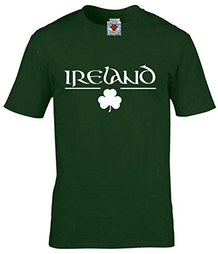 Reality Glitch Herren Ireland T Shirt Irish Clover Design (Flaschengrün, Mittel)