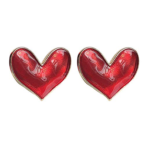 SONGAI Sweet Retro Girl Temperament Transparent Glaze Girl Heart Love Earrings,Colour Name:Red Bracelets Earrings Rings Necklaces (Color : Red)