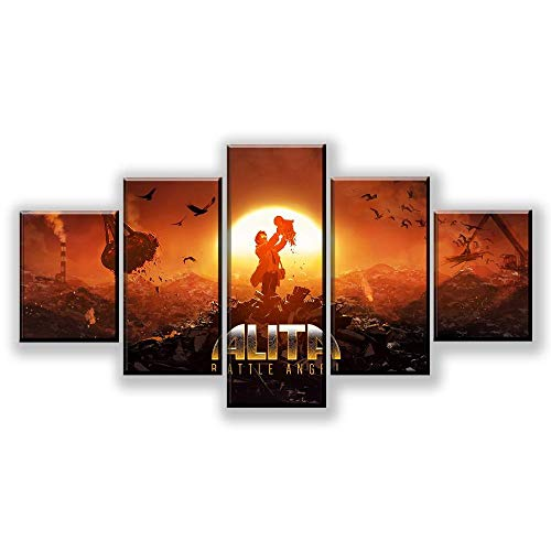 WARMBERL Leinwanddrucke Leinwanddruck 5 Panel Film Alita Battle Angel Poster Moderne Wohnkultur Modulare Bild Wandkunst Malerei Dekoration Rahmen Drucke Auf Leinwand