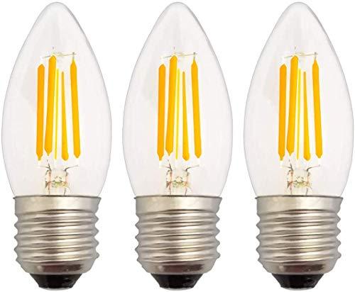 Akaiyal 4W E27 LED Kerze Birne Warmweiß 2700K 200-240V C35 COB Filament LED Glühbirne Schraube Sockel Edison Vintage LED Kerzenbirne Nicht Dimmbar 3-Stück MEHRWEG