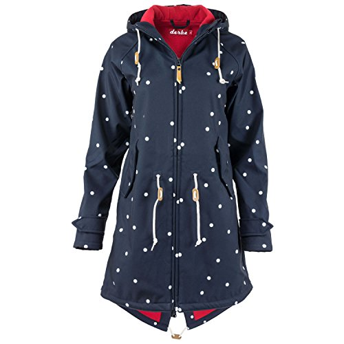 derbe Island Friese Dots Softshelljacke Damen Navy blau/Weiss/rot - 34