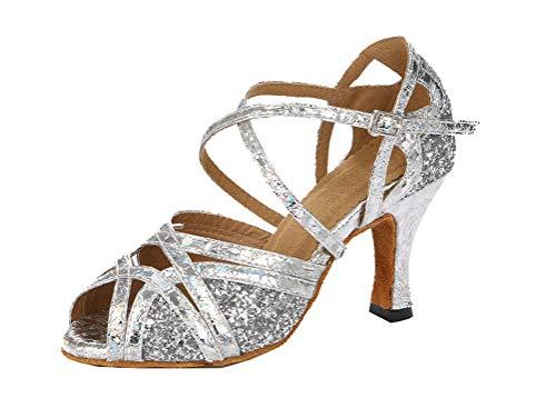 Zapato de baile latino moderno con tacón abierto para mujer, tango, salón...