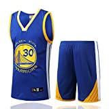 DDOYY Ropa de baloncesto para hombres Stephen Curry # 30 Guerreros sin mangas, juego de baloncesto Jersey sin mangas deportes al aire libre fitness S-3XL-azul-S