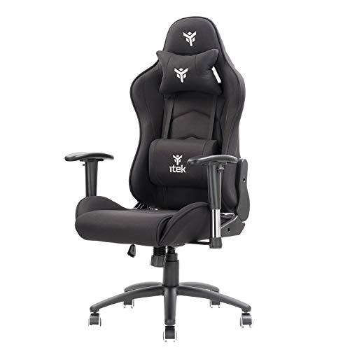 Itek Playcom FM20 - Chair para Videojuegos, acrílico, Negro, Normal