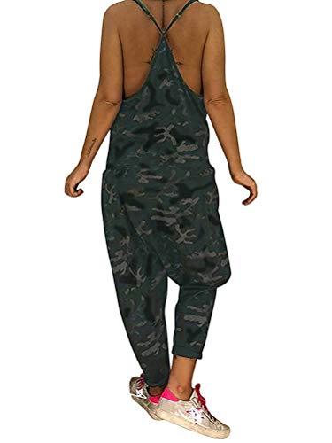 Tomwell Damen Frauen Latzhose Tarnung Beiläufige Latzhose Lose Lange Taschen Täglichen Training Strampler Overall Hosen Jumpsuit Rompers Schwarz DE 46