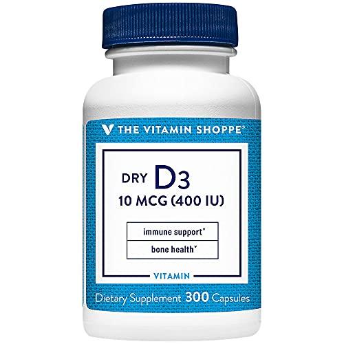 The Vitamin Shoppe Dry Vitamin D3 400IU, Supports Bone Immune Health,...