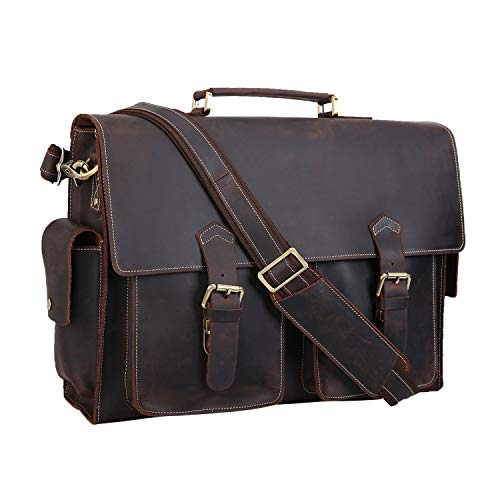 """Polare 17"""" Mens Full Grain Leather Laptop Briefcase Business Messenger Bag Satchel With YKK Metal Zippers"""