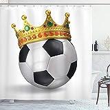 ABAKUHAUS König Duschvorhang, Fußball Fußball mit Krone, mit 12 Ringe Set Wasserdicht Stielvoll Modern Farbfest & Schimmel Resistent, 175x180 cm, Mehrfarbig
