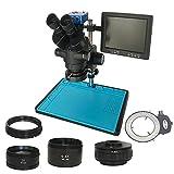 LILICEN LYJ 3.5x-90x Microscopio Stereo trinoculare per Saldatura + SMD 38MP HDMI Digital Videocamera USB + LCD 8 Pollici PCB Monitor +144 luci a LED