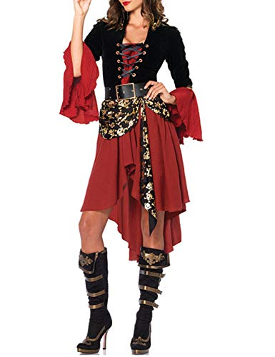 xxxiticat Women's Halloween Gothic Caribbean Pirate Cosplay Costume Dress Hat Party Clothes Stage Animation Costume(RE,L) Red