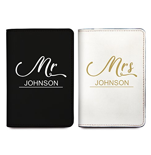Mr And Mrs - Personalized RFID Passport Holder Cover - Travel Wallet - Set of 2