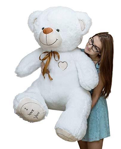 Coccoloso Peluche Orso Gigante 150cm Orsacchiotto ( I Love You ) Bianco ,Regalo Perfetto Bambini Adulti