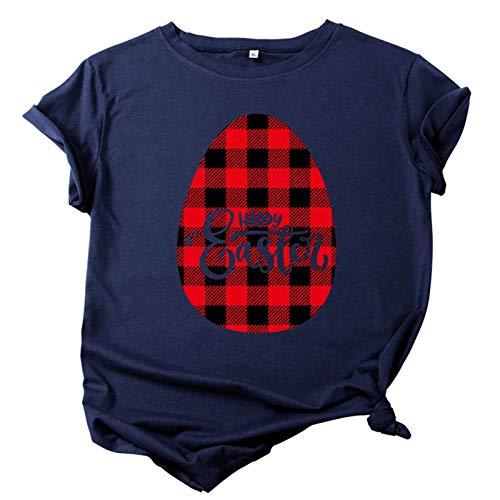Judeyuan Camiseta de Pascua para Mujer, Tallas Grandes de Pascua de Manga Corta con Cuello en O de Impresión Blusa Informal Tops de Camiseta Azul Oscuro XXL 2021 Último