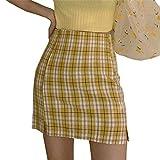 Falda Mini a Cuadros para Mujer Falda Lápiz Y2K Cintura Alta Minifalda Vintage para Verano Fiesta con Abertura Lateral (Amarillo, XL)