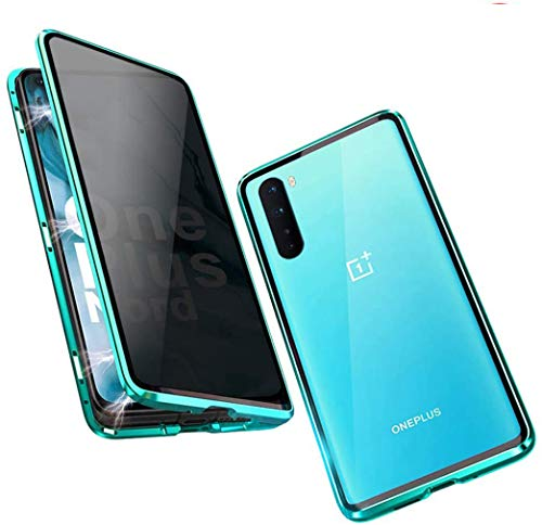 BiubiuCase Aluminum Alloy Frame Magnetic Clear Case for Oneplus Nord 5G [6.44 inch], Multi-Points Adsorption Anti-Peeping Tempered Glass Phone Case for Oneplus Nord 5G [6.44 inch] (Anti-peep Green)