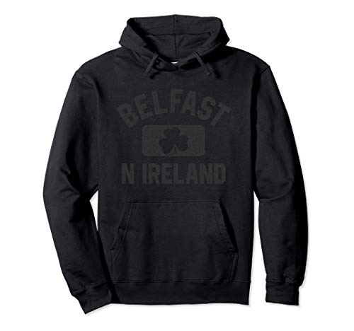 Belfast N Ireland Gym Style Black w Distressed Black Print Sudadera con Capucha