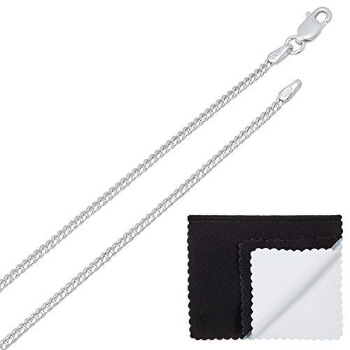 1.8mm High-Polished .925 Sterling Silver Flat Cuban Link Curb Chain Necklace, 24 inches + Jewelry Cloth & Pouch