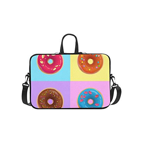 Laptop Umhängetasche Umhängetasche Tasche Notebook Griff Hülse Neopren Soft Carring Tablet Reisetasche, realistische Donuts Verschiedene Glasuren auf Laptop Handtaschen 14