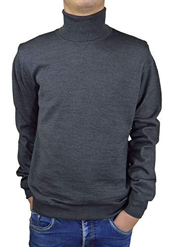 Iacobellis Men's Sweater Mock-Neck Merino Wool Pullover Made in Italy