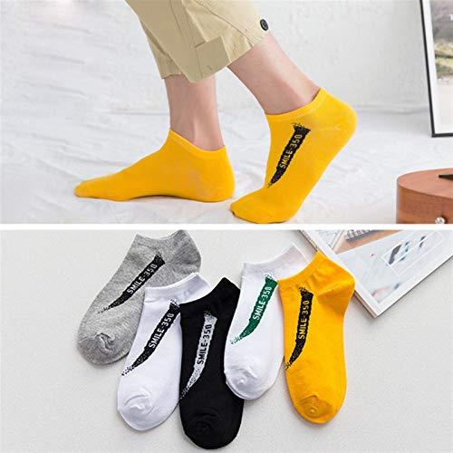 Trihedral-X 5 Pares/Lote Calcetines de algodón Hombres Transpirables de Moda Calcetines de Barco Zapatillas Casuales Absorber el Sudor Hombre Calcetines Cortos Primavera otoño