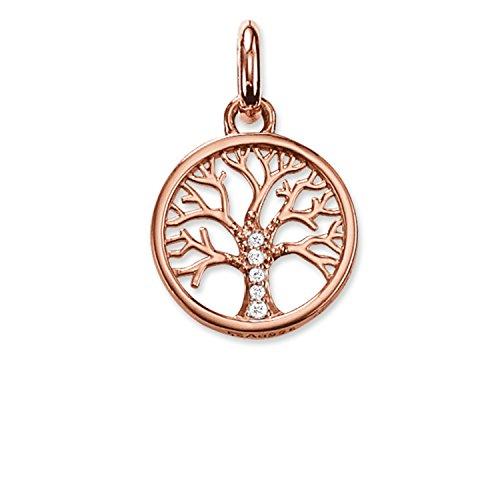 Thomas Sabo Damen-Anhänger Karma Beads Lebensbaum 925 Sterling Silber 750 rosegold vergoldet Zirkonia weiß KC0002-416-14