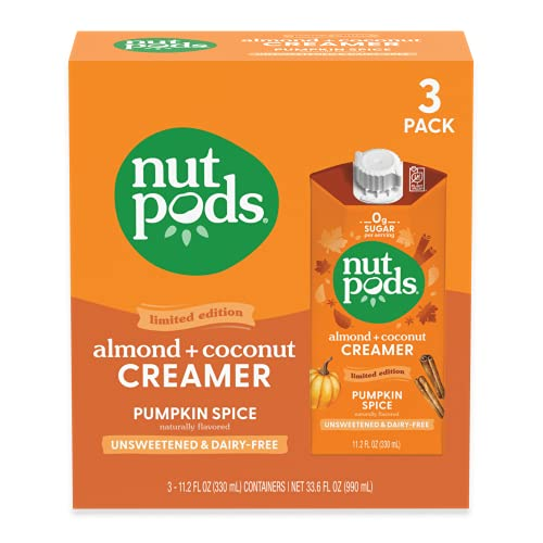 nutpods Pumpkin Spice (3-Pack), Unsweetened Dairy-Free Creamer, Made from Almonds and Coconuts, Whole30, Gluten Free, Non-GMO, Vegan, Kosher