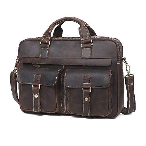 Multi-function Premium Leather Briefcase 15.6 Inch Laptop Bag, Vintage Handcrafted Business Handbag Shoulder bag For Men