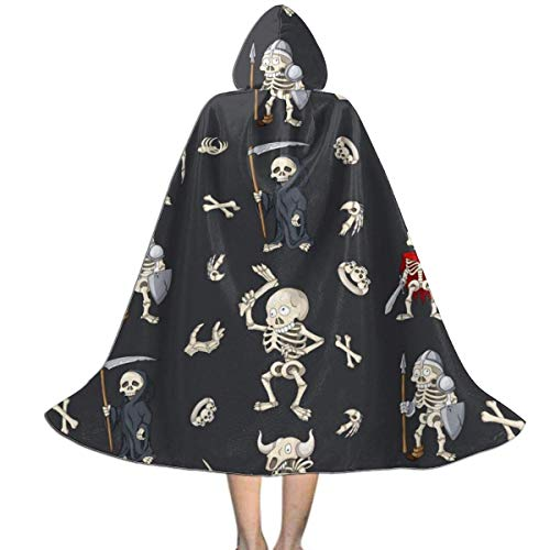 WEIPING Capa con Capucha de Halloween Skull Soldiers para niños |Capa Infantil con Capucha para Halloween, Disfraces, Cosplay y más Negro