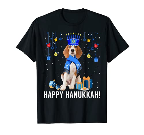 Funny Beagle Menorah Hat Christmas Happy Hanukkah Jewish T-Shirt