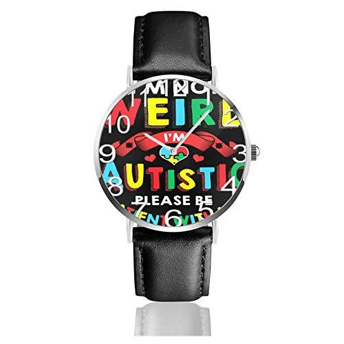 Reloj de Pulsera No Soy Raro Soy Autista Durable Correa de Cuero de PU Relojes de Negocios de Cuarzo Reloj de Pulsera Informal Unisex