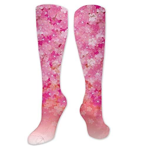 JONINOT Manga de compresin de rodilla de 60 cm, flores de cerezo en flor en tonos vibrantes Ilustracin de belleza de primavera Japn, medias deportivas altas
