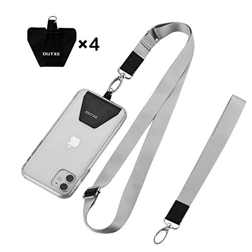 OUTXE Universal Phone Lanyard - 4× Durable Pads, 1× Adjustable Neck Strap, 1× Wrist Strap, Nylon Cell Phone Lanyard Compatible with iPhone, Samsung Galaxy and All Smartphones ( Grey )