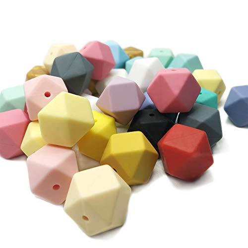 Bebé Silicona Perlas de Dentición Hexagonales 17mm 50pcs Mordedor Cuentas Multifacéticas para Collar de Enfermería DIY Accesorios de Cadena de Chupete